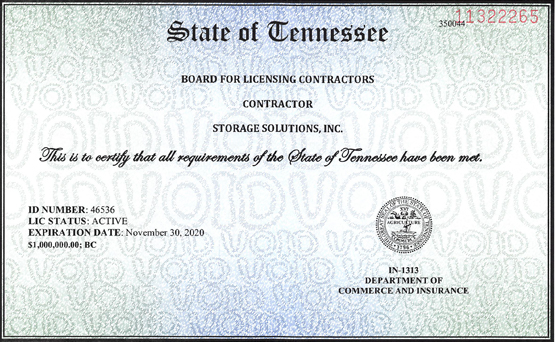SSI Licensed Gerneral Contractor 2019